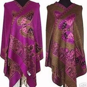 New Cashmere purple butterfly reversible wrap